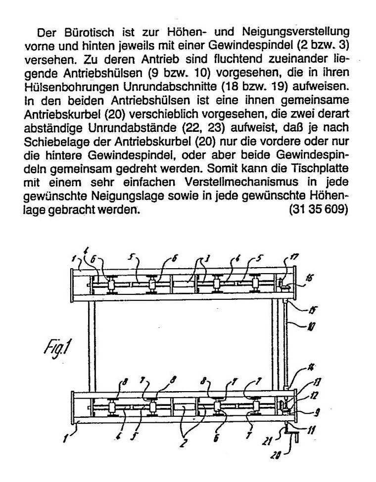 3. Patentanmeldung eines Bürotisches, höhen- und neigungsverstellbar