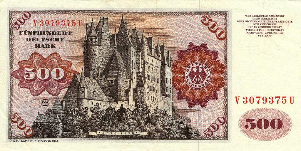 Banknoten über 500 Deutsche Mark